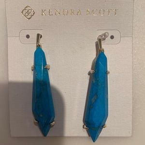 Kendra Scott aqua earrings. Gold metal hoops